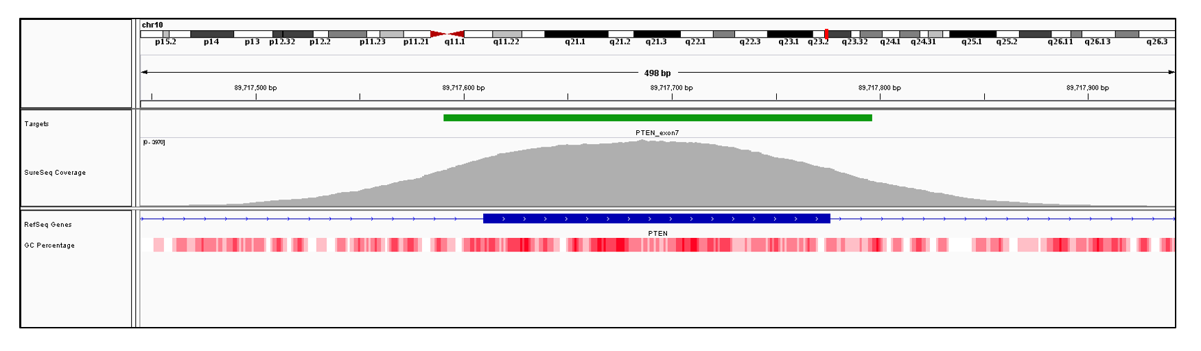 PTEN Exon 7 (hg19 chr10:89717610-89717776). Depth of coverage per base (grey). Targeted region (green). Gene coding region as defined by RefSeq (blue). GC percentage (red). Image
