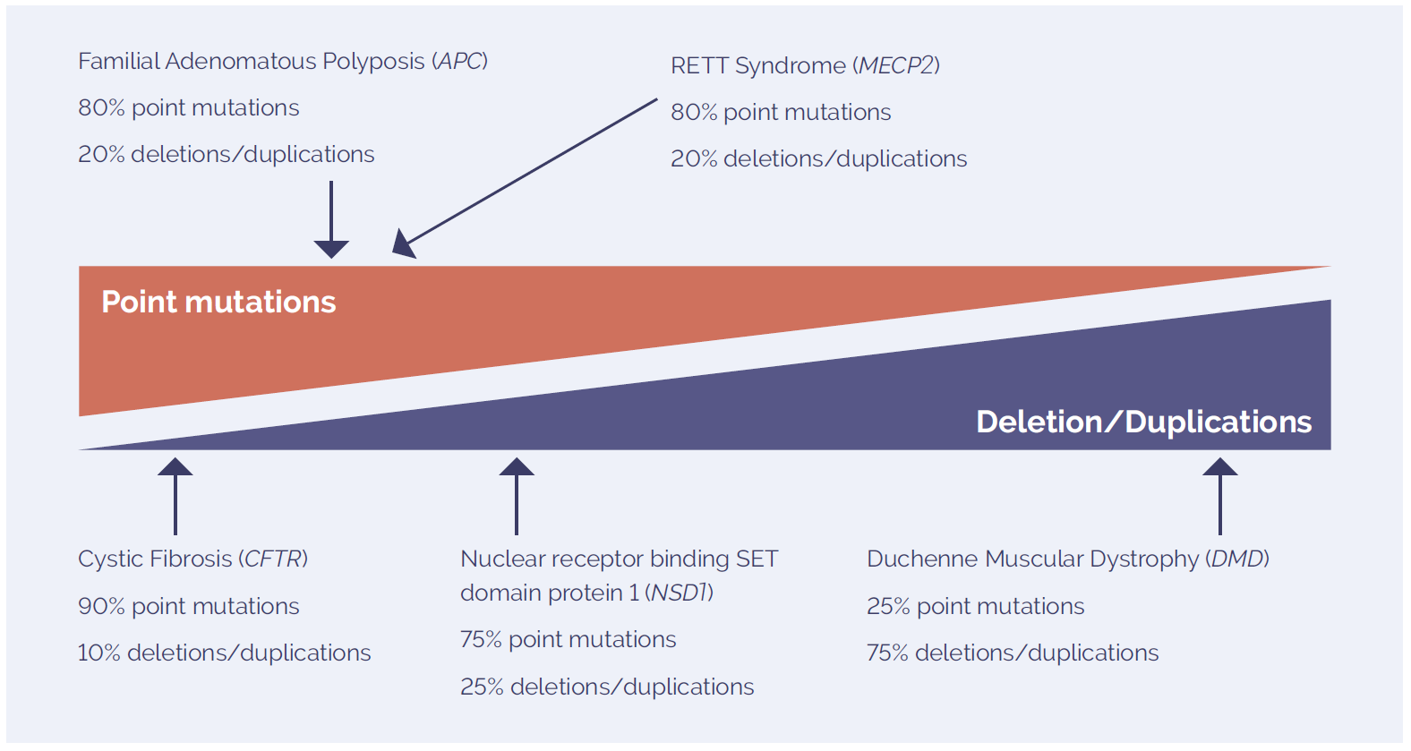Figure 1: The mutation spectrum of molecular disorders includes point mutations and deletions and duplications. The prevalence of each type of variant is highly dependent on the disease studied.