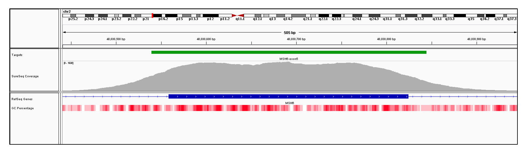 MSH6 Exon 5 (hg19 chr2:48030559-48030824). Depth of coverage per base (grey). Targeted region (green). Gene coding region as defined by RefSeq (blue). GC percentage (red). Image