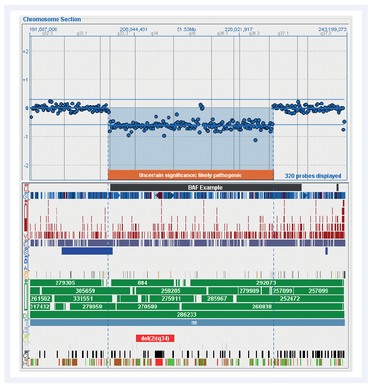 Figure 2: Chromosome overviews are clearly displayed in CytoSure Interpret Software. Shown here is an overview of the distribution of probes on chromosome 2 in the CytoSure Medical Research Exome array and the currently available standard tracks. These fully customisable tracks simplify the interpretation of aberrations.
