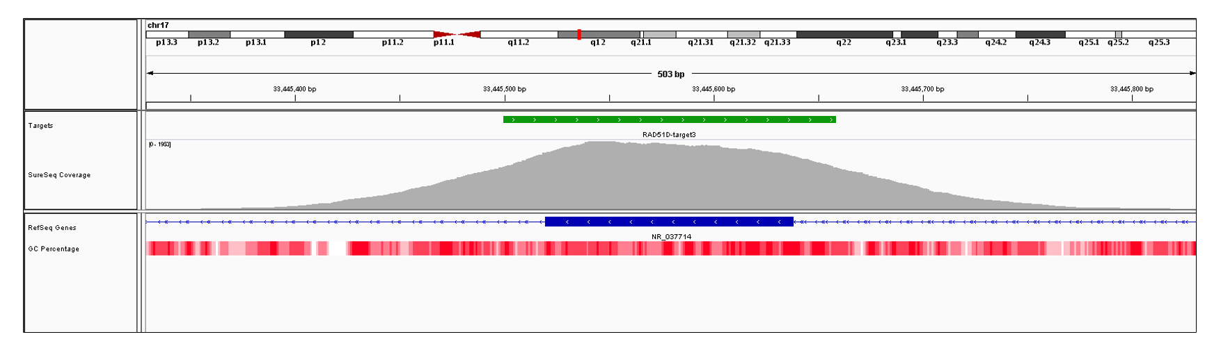RAD51D Exon 3 (hg19 chr17:33445520-33445638). Depth of coverage per base (grey). Targeted region (green). Gene coding region as defined by RefSeq (blue). GC percentage (red). Image