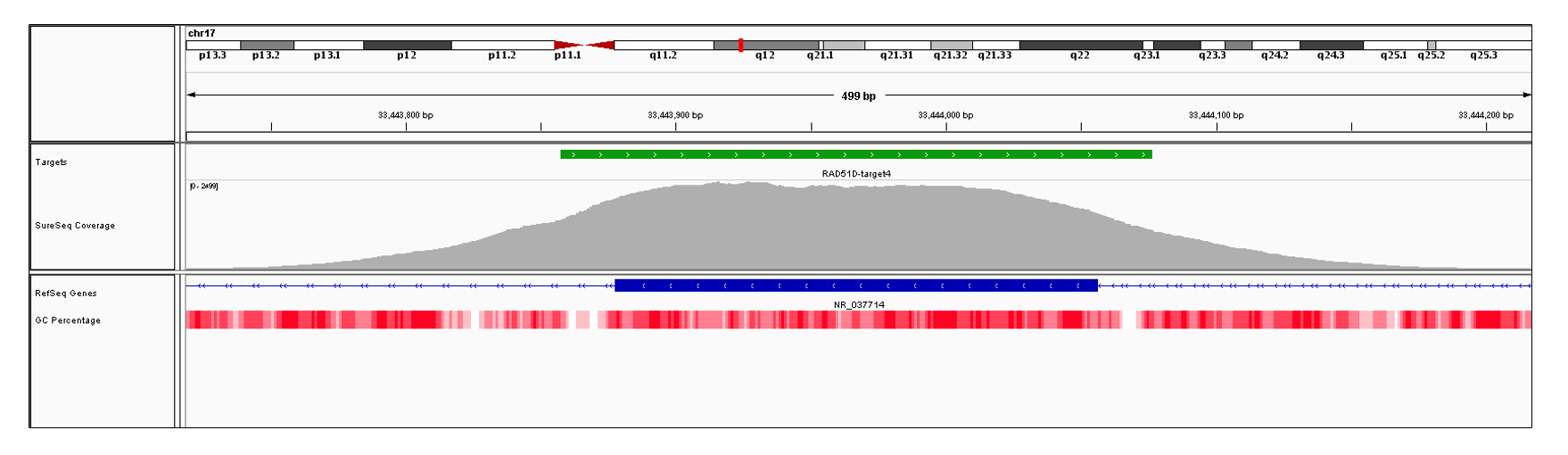 RAD51D Exon 4 (hg19 chr17:33443878-33444056). Depth of coverage per base (grey). Targeted region (green). Gene coding region as defined by RefSeq (blue). GC percentage (red). Image